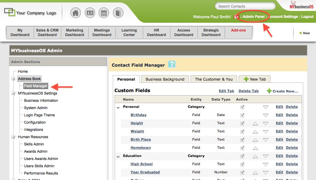 Manage User Defined Fields2
