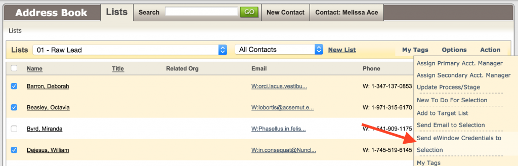 eWindow Credentials to group1